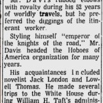 Obituary for Jeff Davis from the Toledo Blade; April 6, 1968.