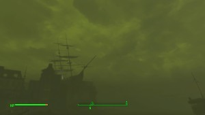The U.S.S. Constitution seen breaking the horizon during a radiation storm.